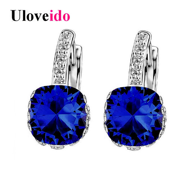 Uloveido Costume Jewelry Wedding Dark Blue Zircon Earrings for Women