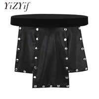 YiZYiF ecossais Kilt hommes sous-vêtements panneau souple Faux cuir taille basse métal clouté Kilt Homme sous-vêtements gai jupe hommes Lingerie