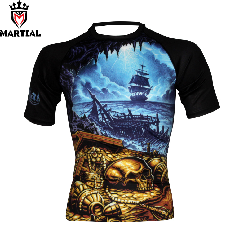 Martial : 2018New Arrival The Exploration  Rash Guard Mma Men Compression Jersey Tights T Shirt Bodybuilding Sports Wear For Men