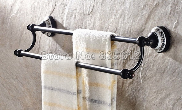 Bathroom Accessories Black Oil Rubbed Brass Porcelain Base Wall Mounted Double Towel Rail Bar Wba060 classic black oil rubbed brass wall mounted bathroom towel rack shelf rails double bar wba120