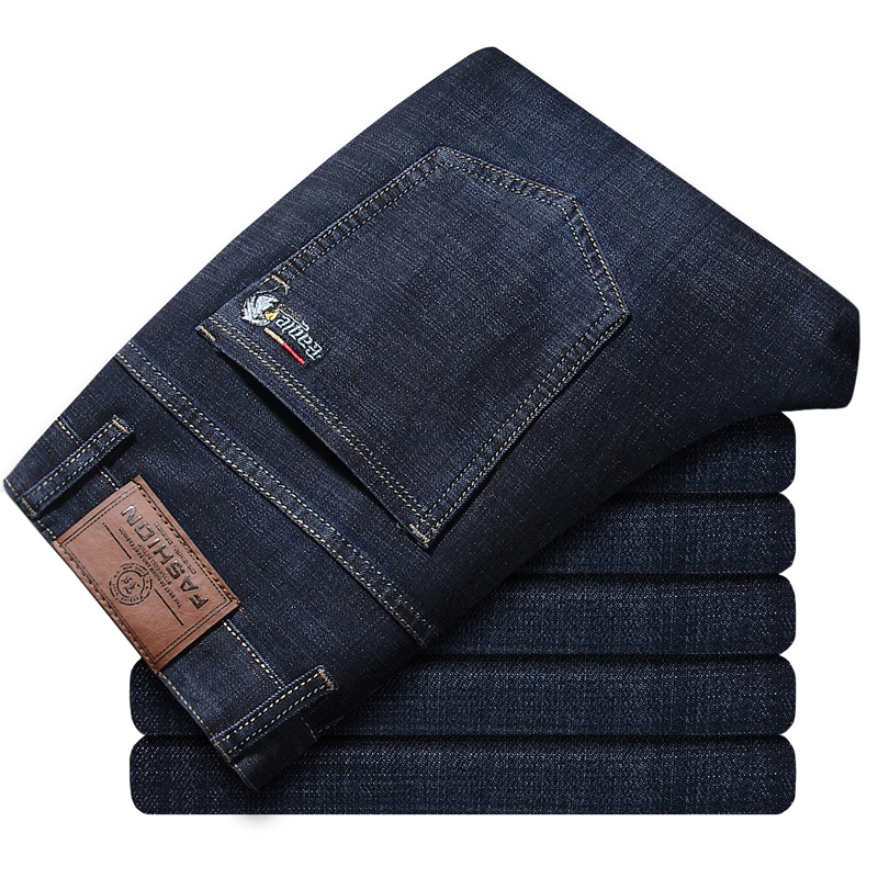 Plus size large size mens clothing 28-40 mens jeans high stretch Slim long casual fashion pants black blue denim mens busines