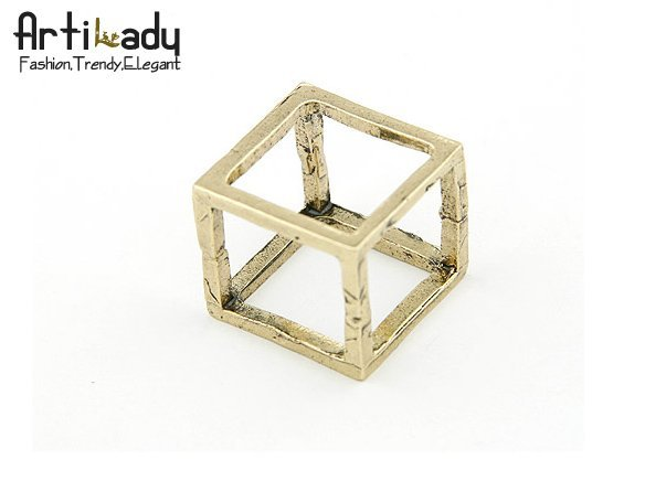 Artilady  gold plating skull cube design ring  fashion jewelry for lady drop shipping