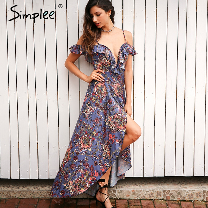 Simplee Vintage boho beach summer dress women Ruffle backless sexy  long dress Split chiffon zipper maxi dress vestidos sundress