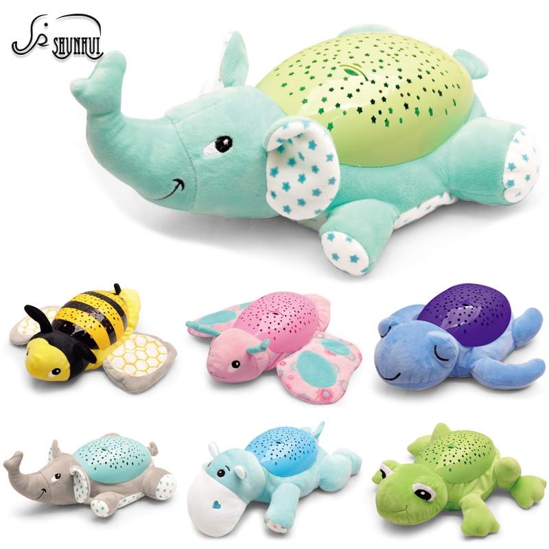 0-12 Month LED Night Light Luminou Plush Toy Baby Stuffed Plush Animals Toys Music Star Lamp Hypnotic Projector Toy For Children