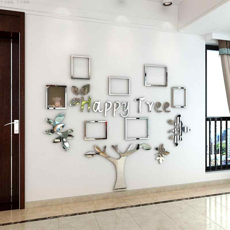 3D home mirror acrylic picture frames decorations wall stickers living room bedroom  photo wall stickers