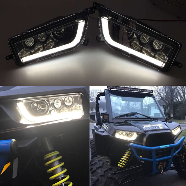 2016 2017 For Polaris General 1000 Black Led Halo Headlights Kit Usa Angel Eye