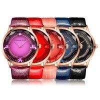 Elegant Women Modern Rhinestone Quartz Watch Lady Casual Leather Wristwatch 5 Color 2 Size Relogio