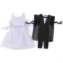 100 Pieces Organza Drawstring Candy Bag 50* Tuxedo &  50* Dress Bride Groom Wedding Favors Party Gift Bag WB06