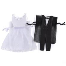100 Stuks Organza Koord Candy Bag 50 * Tuxedo & 50 * Jurk Bruid Bruidegom Trouwbedankjes Party Gift Bag WB06