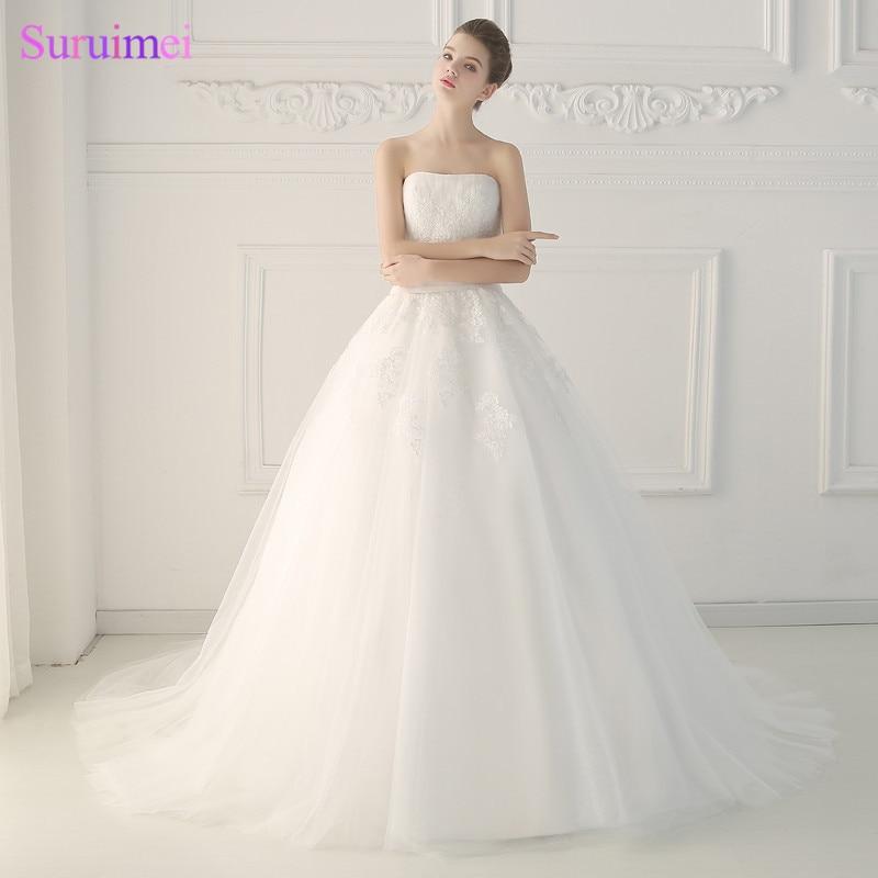 Princess Wedding Dresses Vestidos De Noiva 2017 Strapless White Appliques Ball Gown Wedding Dress Real Photos Corset Bride Dress