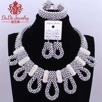 2017 Fashionable Silver Big Design Jewelry Necklace Sets Nigerian Wedding African Beads Christmas Costume Jewelry Sets Brand