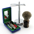Classic Safety Razor W/ 5 Blades Stand Holder Shaving Brush Facial Cleaning Kit