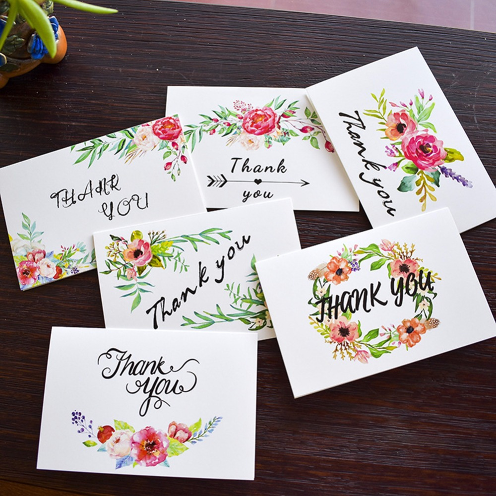 6pcsset Thank You Greeting Cards Flowerleaves And White Chalkboard