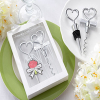 Free Shipping Wedding Groom & Bride Gift Bottle Opener Wine Stopper Set Heart Shaped Wine opener Bottle stopper combination