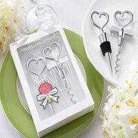 Free Shipping Wedding Groom & Bride Gift Bottle Opener Wine Stopper Set Heart Shaped Wine opener Bottle stopper combination