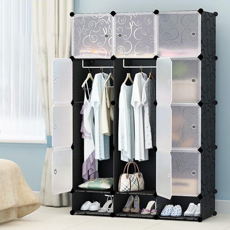 2019 Neue Budget Einfache Kleiderschrank Diy Einzigen Kleiderschrank Kunststoff Kombination Tragbare Schließfächer Kombination Schließfächer
