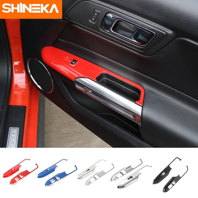 SHINEKA – poignée de porte de voiture, panneau d'accoudoir, cadre décoratif, garniture pour Ford Mustang 2015 2016 2018