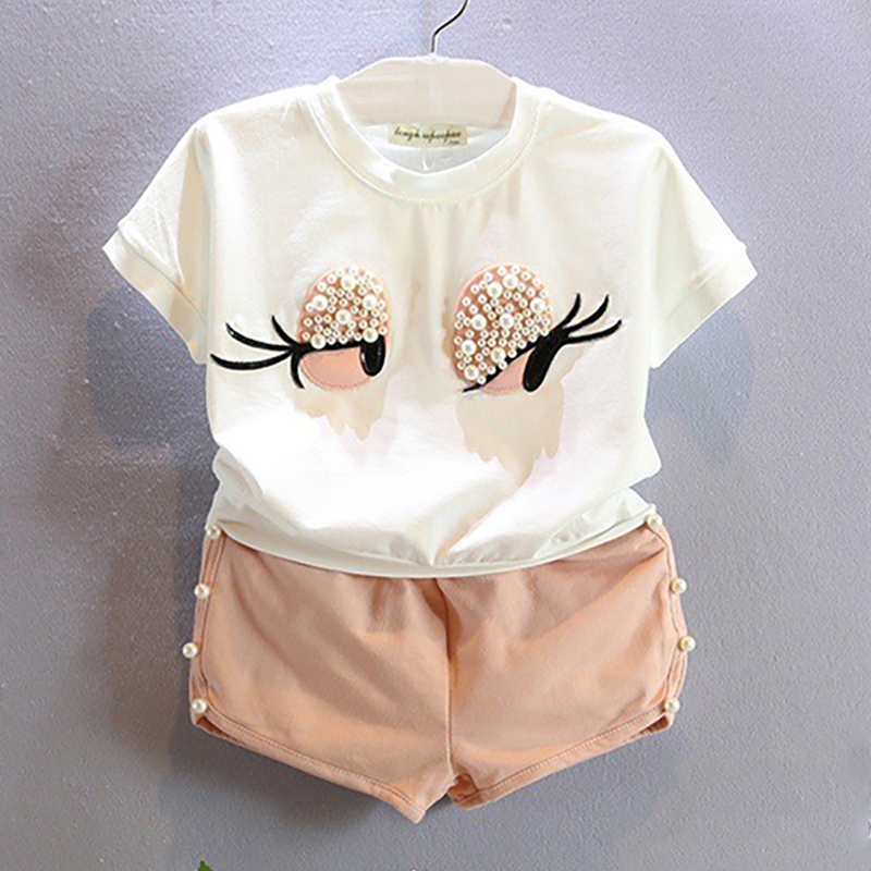 Summer Girls Clothing Sets Eyes White Color T-shirt+Pearl Solid Shorts Pants Children Clothing For Baby Girls Kids Clothes Sets dfd f106 usb rechargeable 4 5 ch r c helicopter w gyroscope yellow silver