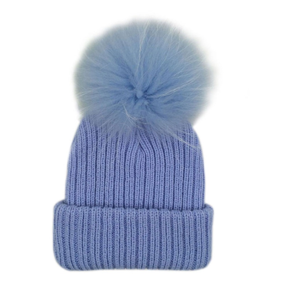 Kids Candy Color Pom Pom Beanie Winter Warm Knitted Bobble Baby Fur Pompom Hat Children Real Raccoon Fur Pompon Cotton Hat Cap hat for 4 7 years kids winter beanie 2 bobble pompoms bi color 100% cotton caps for boys girls raccoon fur pom pom hat
