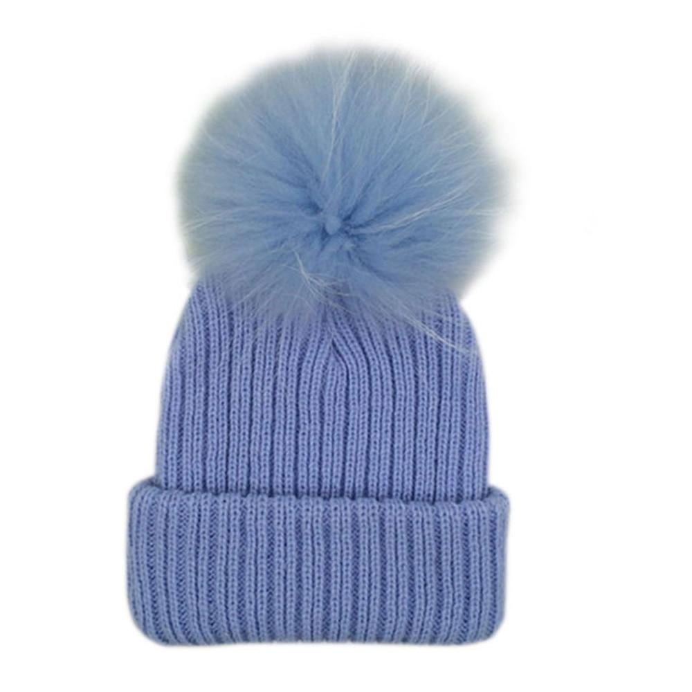 купить Kids Candy Color Pom Pom Beanie Winter Warm Knitted Bobble Baby Fur Pompom Hat Children Real Raccoon Fur Pompon Cotton Hat Cap дешево