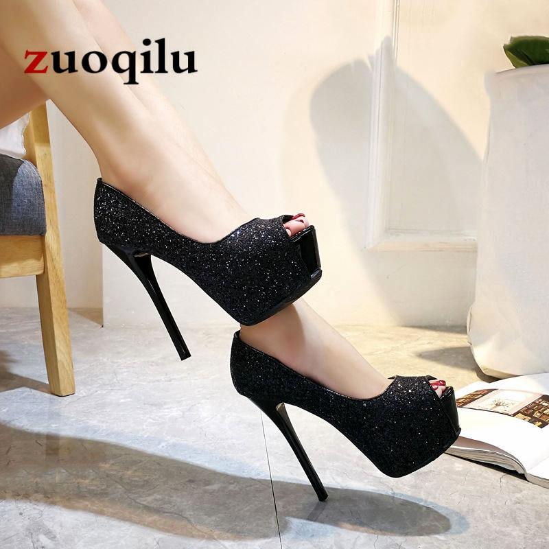 Sexy pumps women shoes 2019 high heel peep toe platform high heels wedding shoes woman silver black ladies heels shoes basic pump