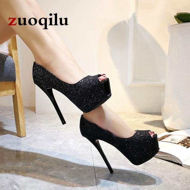 7902888da Sexy pumps women shoes 2019 high heel peep toe platform high heels wedding  shoes woman silver