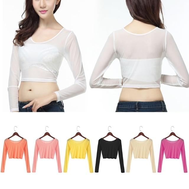 dae2dc7336 Women Sexy Slim Semi-transparent Mesh Crop Tops Girl Long Sleeve Short T- Shirts