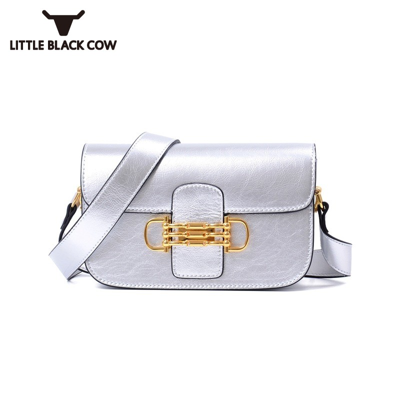 Ladies Split Cow Leather Handbag 2018 New Chic Lock Solid Flap Shoulder Bag Female Silver Black White Office Small Crossbody Bag studio m new black white printed split neck womens size small s tunic blouse $78