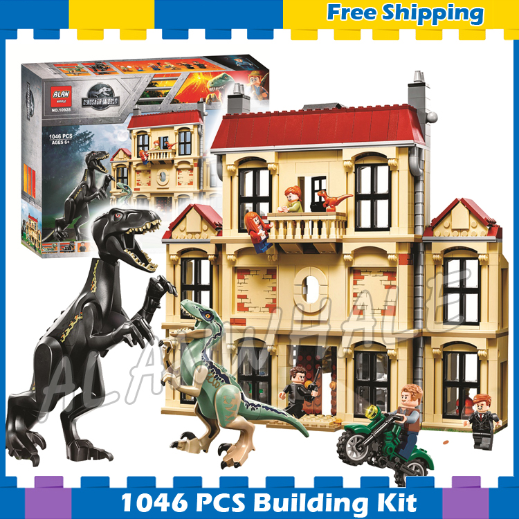 1046 pièces Jurassic monde Indoraptor saccage à Lockwood immobilier modèle blocs de construction dinosaure cadeaux ensembles compatibles avec Lego