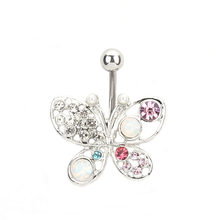 Colorful butterflies Style Nails Navel Body Piercing Stainless Steel Crystal Belly Button Ring For Women Body Jewelry(China)