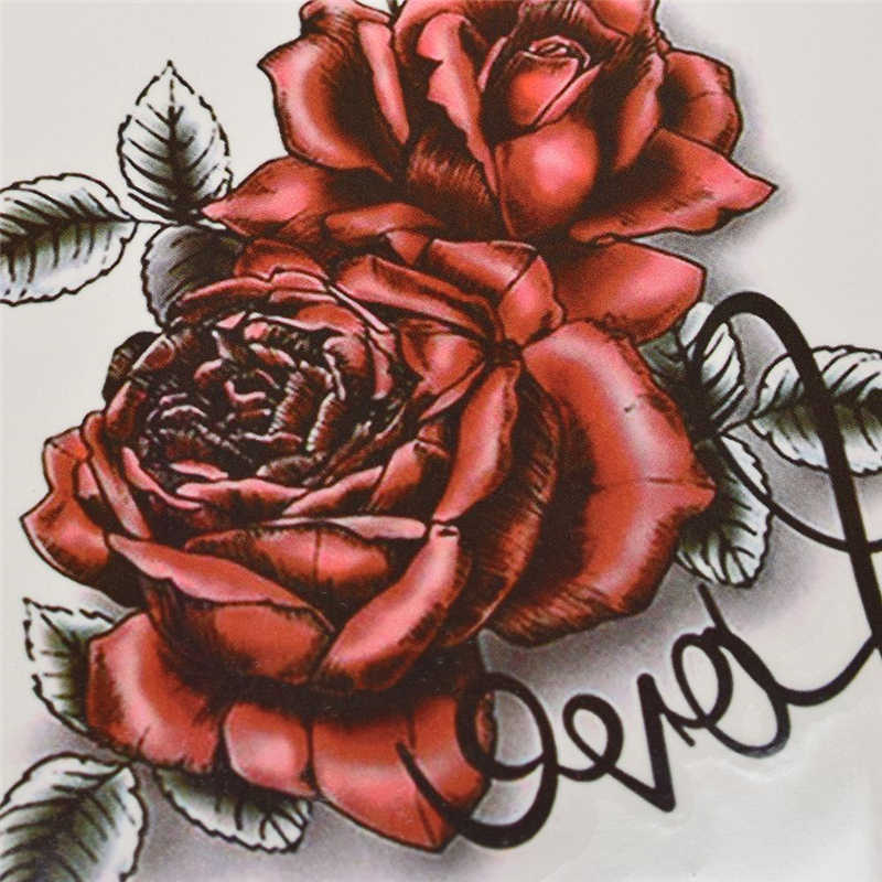 Rose Flower Temporary Tattoo Sticker Waterproof Women's Fashion Fake Arm Face Body Art 190*90mm Children's Adult Hand Tatoo