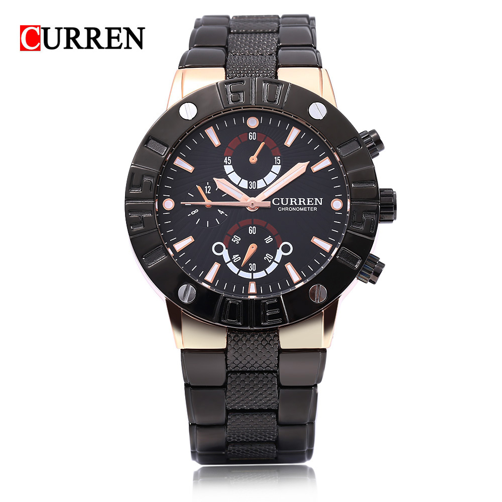 Curren 8006 Luxury Brand Quartz Movement Waterproof Alloy Wrist Watches Men Three Decorative Sub-dial Luminous Scale 3ATM Watch angela bos sub dial work waterproof luminous mens watches top brand luxury 2016 men s watches quartz watch wrist watches for men