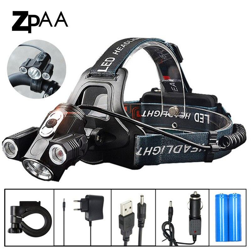 ZPAA T6 LED Cabeça Lanterna Tocha 13000 Lumens LED Farol LED Head Lamp 180 graus de Giro duplo Bicicleta Luz Do Farol lâmpadas