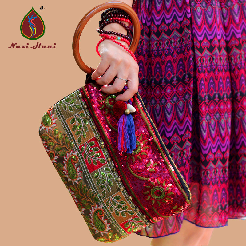 ФОТО Naxi.Hani brand design Frosted cow leather sequins Day clutches Ethnic embroidered Solid wood ring Casual handbags