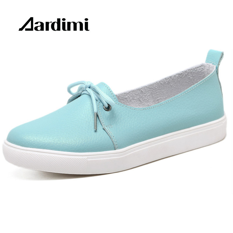 AARDIMI Autumn Lovely Women Shoes Genuine Leather Women Flats Shoes Moccasins Single Solid Ballet Causal Shoes