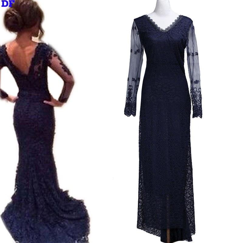 Plain Black Long Maxi Dress Lace Vestidos Sleeve Evening Party Dresses 2015 V-Neck Elegant Summer XL - Eastdamo Official Store store