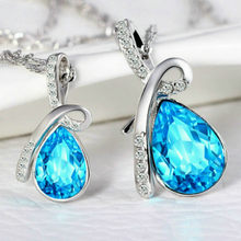LOLEDE Tear Drop Clear Blue Chokers Necklaces Crystal Necklace Women Holiday Beach Statement Jewelry Wholesale Fashion(China)
