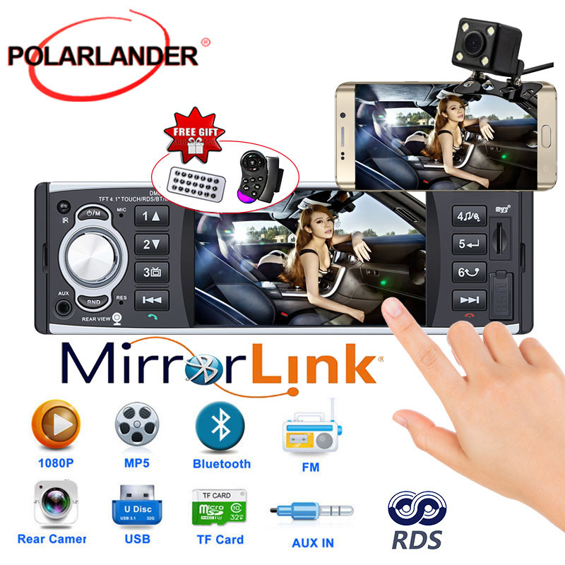 Autoradio lecteur radio 1 din 12 v 4.1 pouces écran tactile auto audio miroir lien RDS Bluetooth vue arrière caméra voiture stéréo