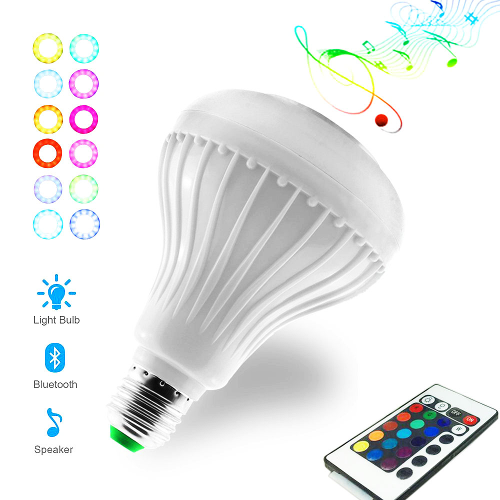 Bluetooth Bulb LED Smart Bulb E27 Lamp with Spearker Wireless Music Player and Dimmable Bulb Lamp with 24 Keys Controller smart bulb e27 7w led bulb energy saving lamp color changeable smart bulb led lighting for iphone android home bedroom lighitng