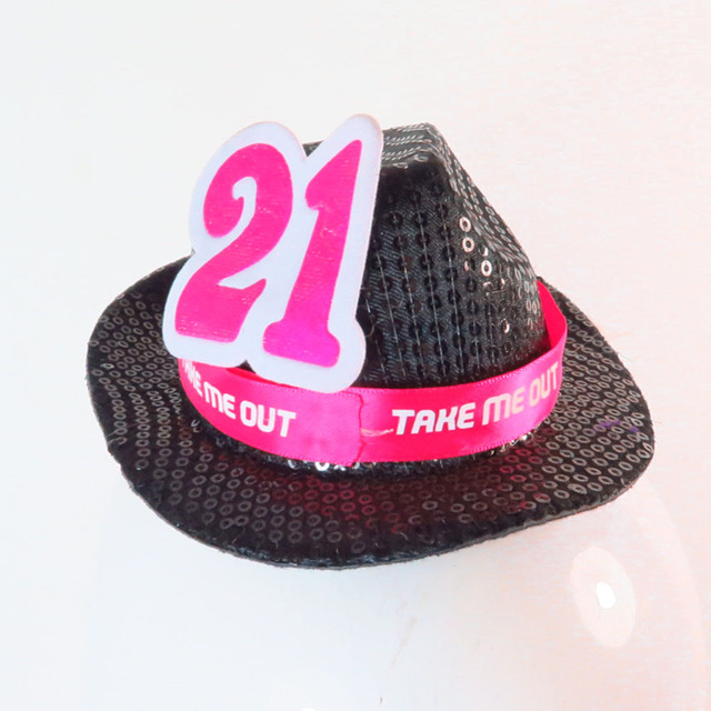 2018 new design pink ribbon black sequin fedora mini top hat on hair clips  with glitter nice number anniversary event party c995b659933