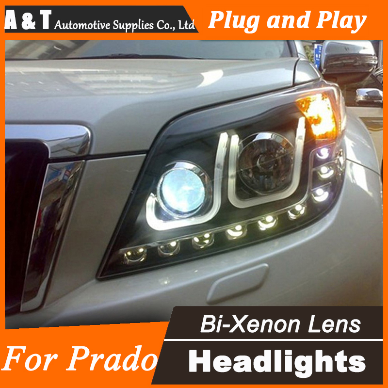 Car Styling for Toyota Prado LED Headlight assembly 2009-2012 Prado LED DRL Lens Double Beam H7 with hid kit 2pcs.
