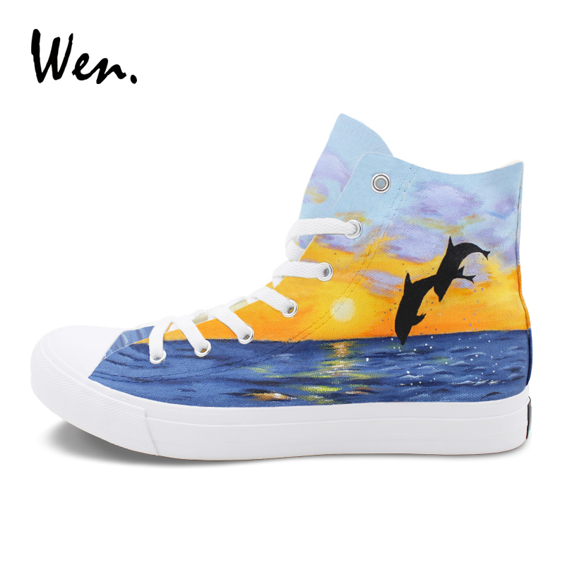 все цены на Wen Canvas Shoes Animal Painting Dolphin Ocean Sunset Men Women Sneakers Hand Painted Shoes High Top Lace up Plimsolls Trainers