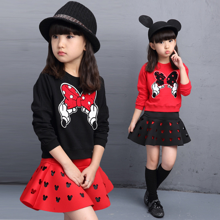Fashion Girls Clothes Spring Autumn Long Sleeve T-shirt + Minnie Skirt Set 2pcs Casual Black Red 5t 4t 3t  8 10 12 7 5 years brand new spring autumn girls clothing t shirt long sleeves red black children cute long t shirt school shirt top tees gh048