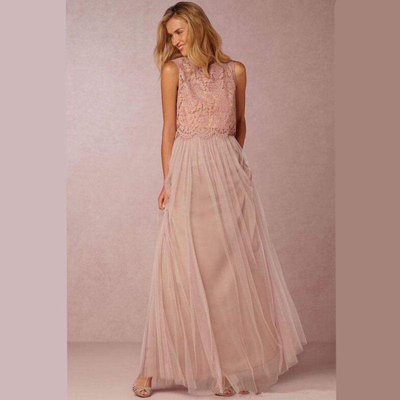 2017 Cheap Two Pieces Country Bridesmaid Dresses Long With