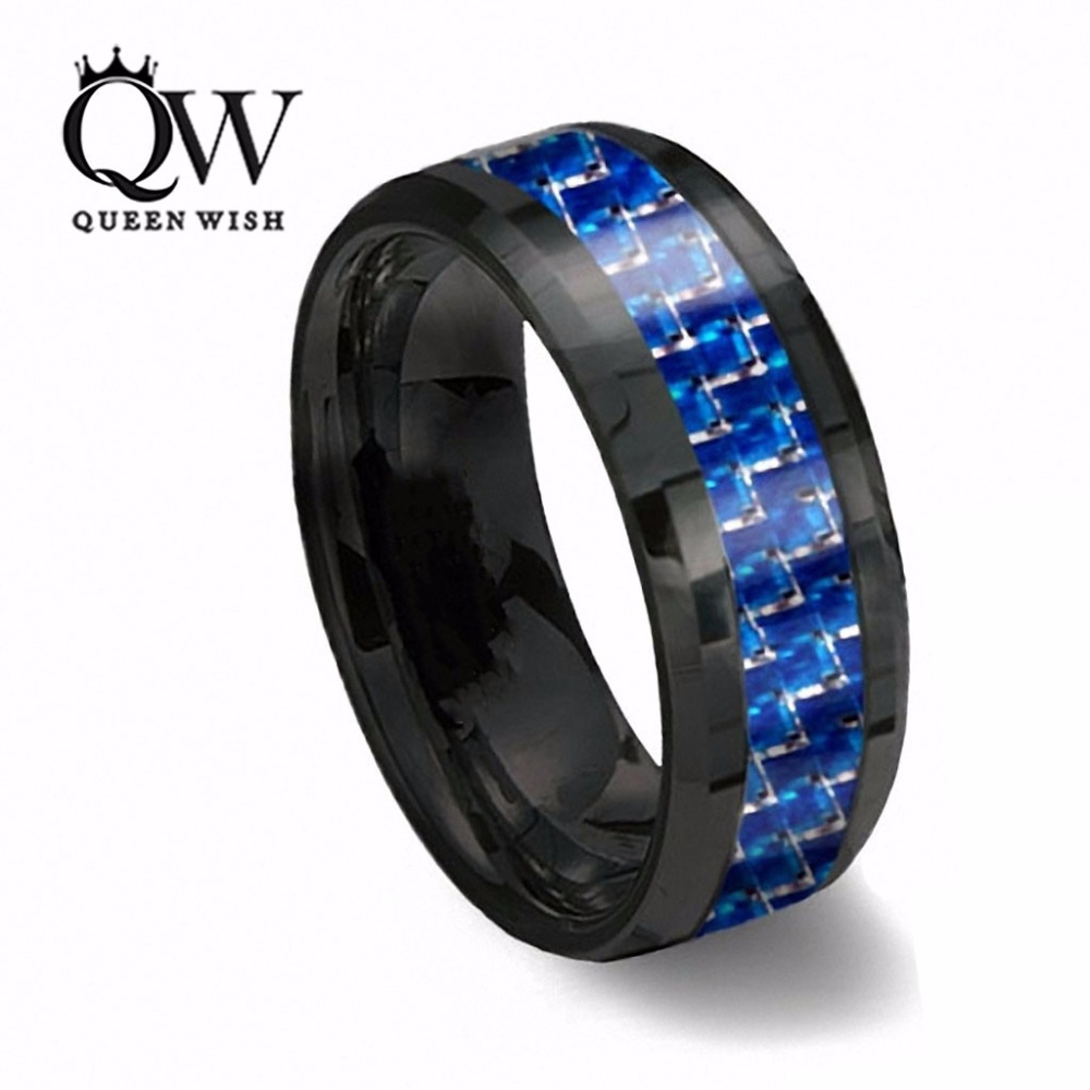 Queenwish 8mm Black Tungsten Ring With Thin Blue & white Line Carbon Fiber Statement Couple Rings Wedding Bands Size 6-13