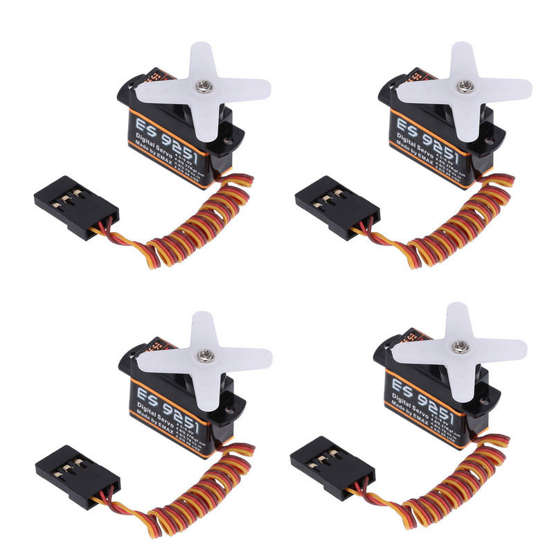 4Pcs/Lot Emax ES9251 2.5g Digital Servo for RC Helicopter Airplane Drone Parts  high quality emax es3154 digital mini servo with parts for rc airplane model available fur jr plug