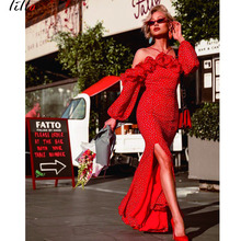 Cascading Ruffle Trumpet / Mermaid Dress Red Beach Style Womens Sexy Slash neck Temperament Polka Dot Split Summer Dr