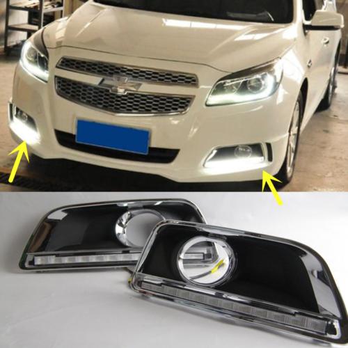 1 Pair  White LED Fog Lights DRL Run Lamps Fit For Chevrolet Malibu 2011-2014 3000 10000k lights drl led for lexus rx gyl1 ggl15 agl10 450h awd 350awd 2008 2013 fog lamps white yellow blue 1 set 81210 0d042