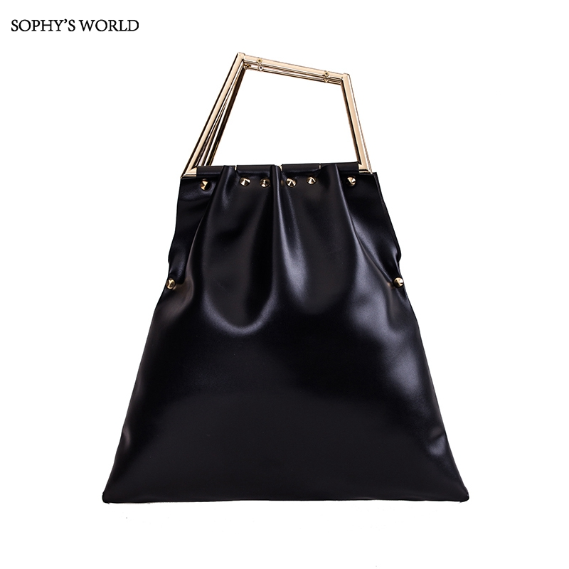2017 New Leather Vintage Bag Gold Handle Totes Purse For Women Luxury Handbags Women Bags Designer Rivet Clutch Evening Bag elegant top handle handbags female new designer pu leather evening bag 2017 fashion high grade exquisite embroidered women totes