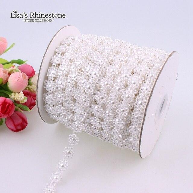 2 Yard Artificial Ivory White Six Petal Flower Lace Flatback Pearl